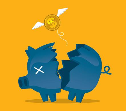 Broken piggy bank