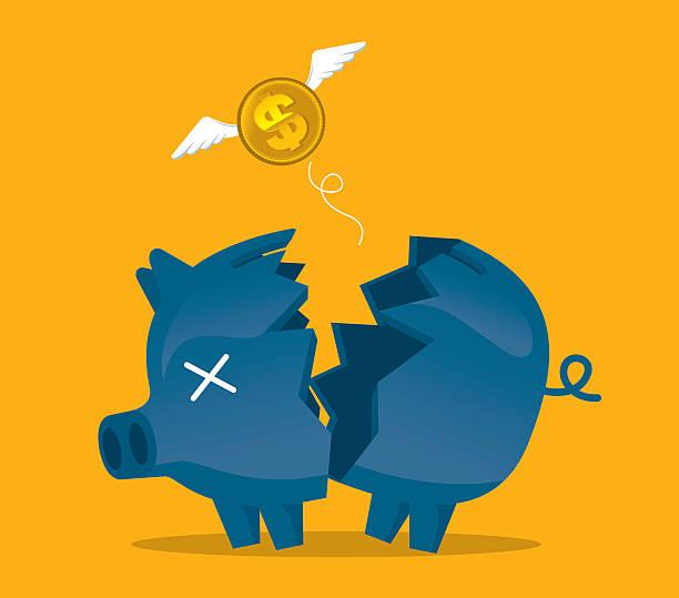 stockillustraties, clipart, cartoons en iconen met broken piggy bank - faillissement