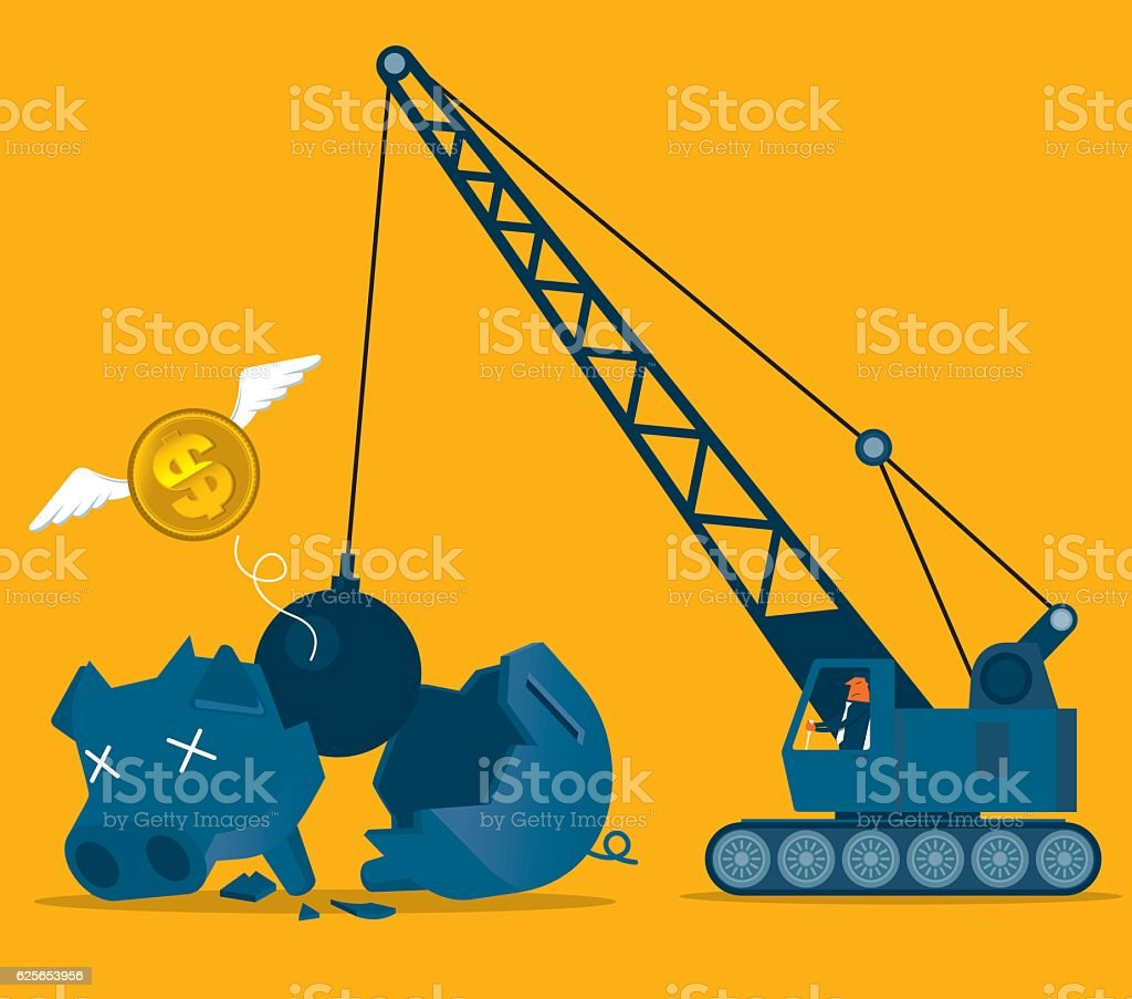 Broken piggy bank vector art illustration