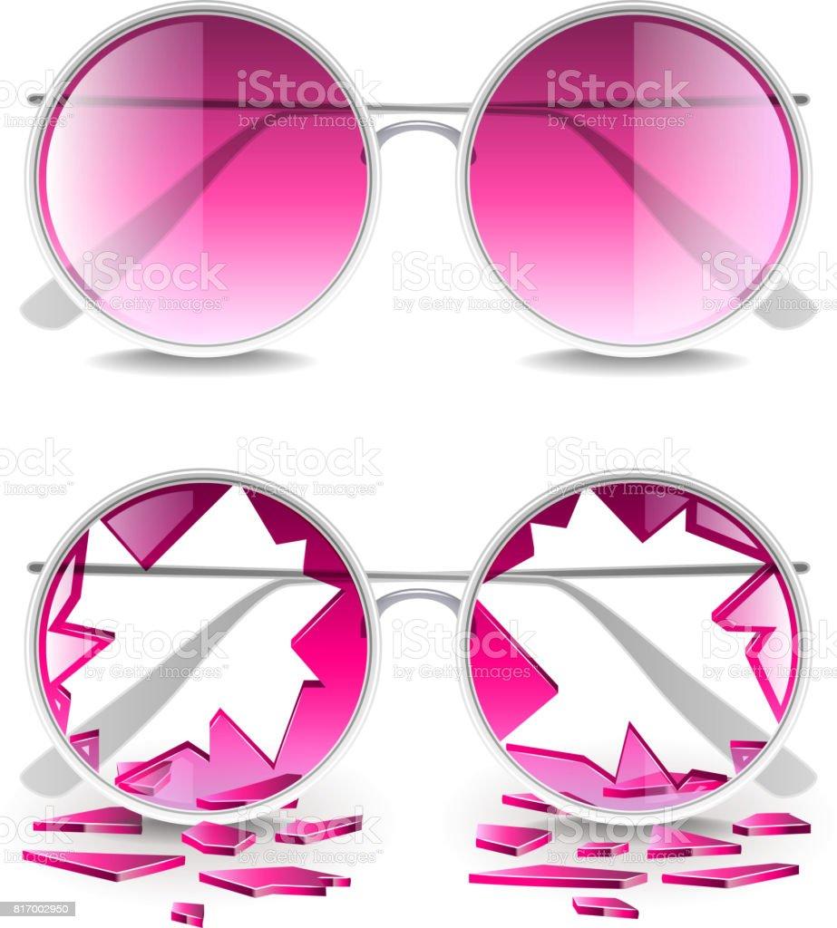 Broken pink glasses isolated on white vector vector art illustration