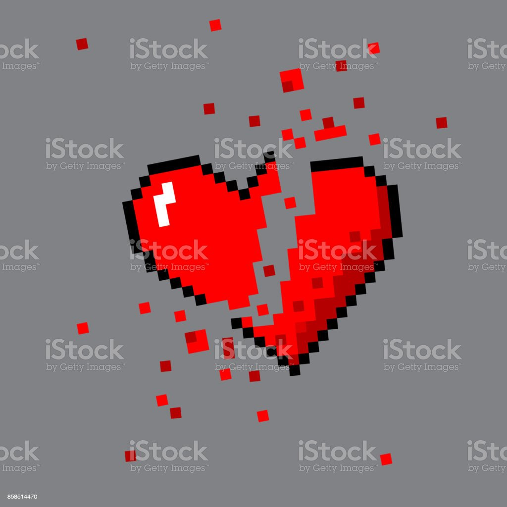 Broken Pixel Art Heart For Game Stock Illustration Download Image Now Istock