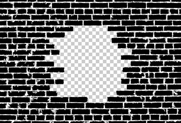 Broken realistic old black brick wall concept on transparent background. Vector illustration vector art illustration
