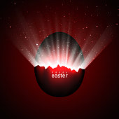 Broken red easter egg and universe. Rays of light and space with stars from cracks in an easter egg on a dark background. Vector, space for text, creative greeting card design