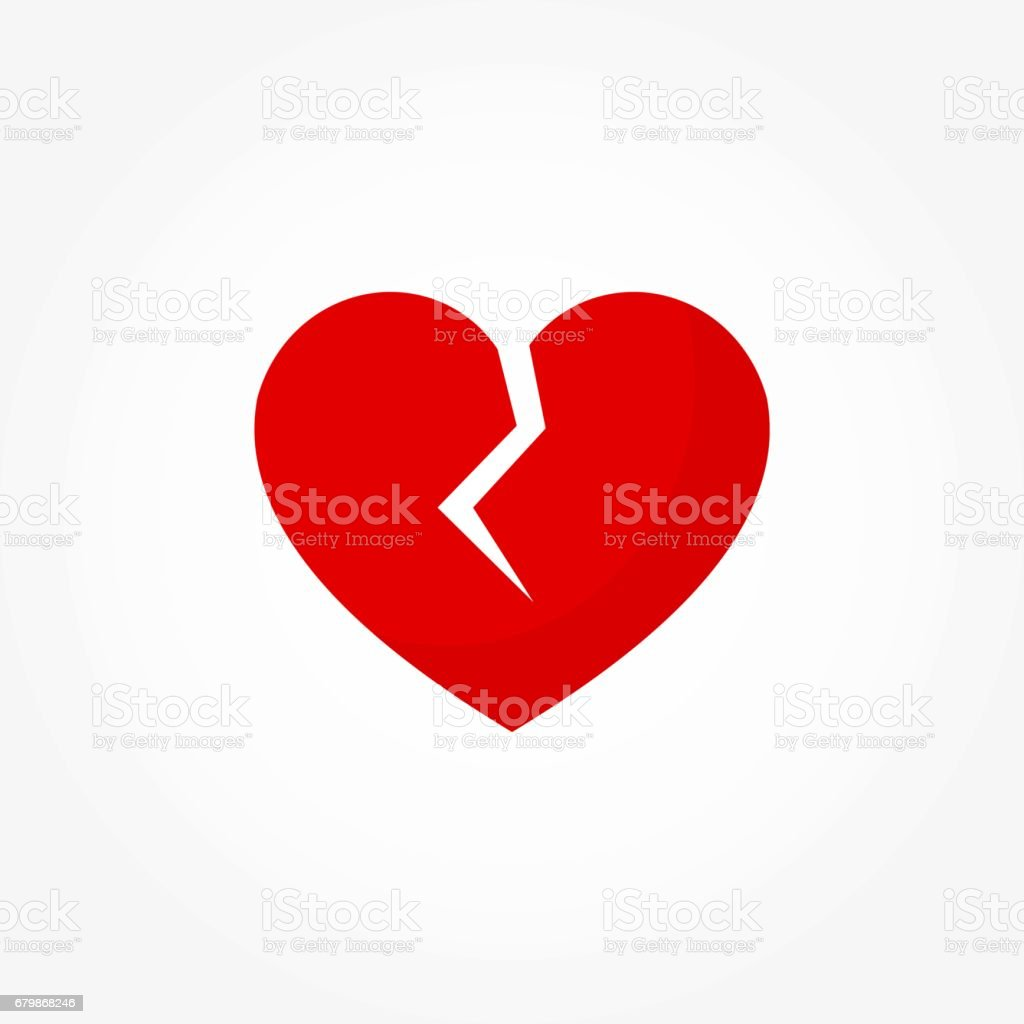 Broken red heart icon vector art illustration