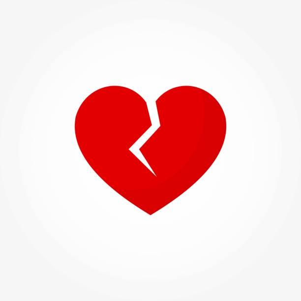 stockillustraties, clipart, cartoons en iconen met gebroken rood hart pictogram - liefdesverdriet