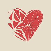 Broken red heart on a white background.