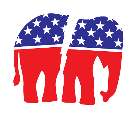 Broken Red White And Blue Elephant