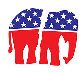 istock Broken Red White And Blue Elephant 1299828264