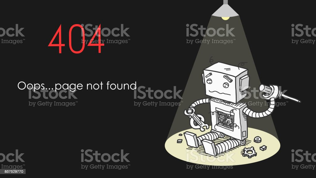 Broken Robot 404 Page Not Found Error vector art illustration