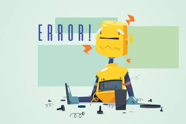 Broken Robot Showing Error Concept Illustration vector art illustration