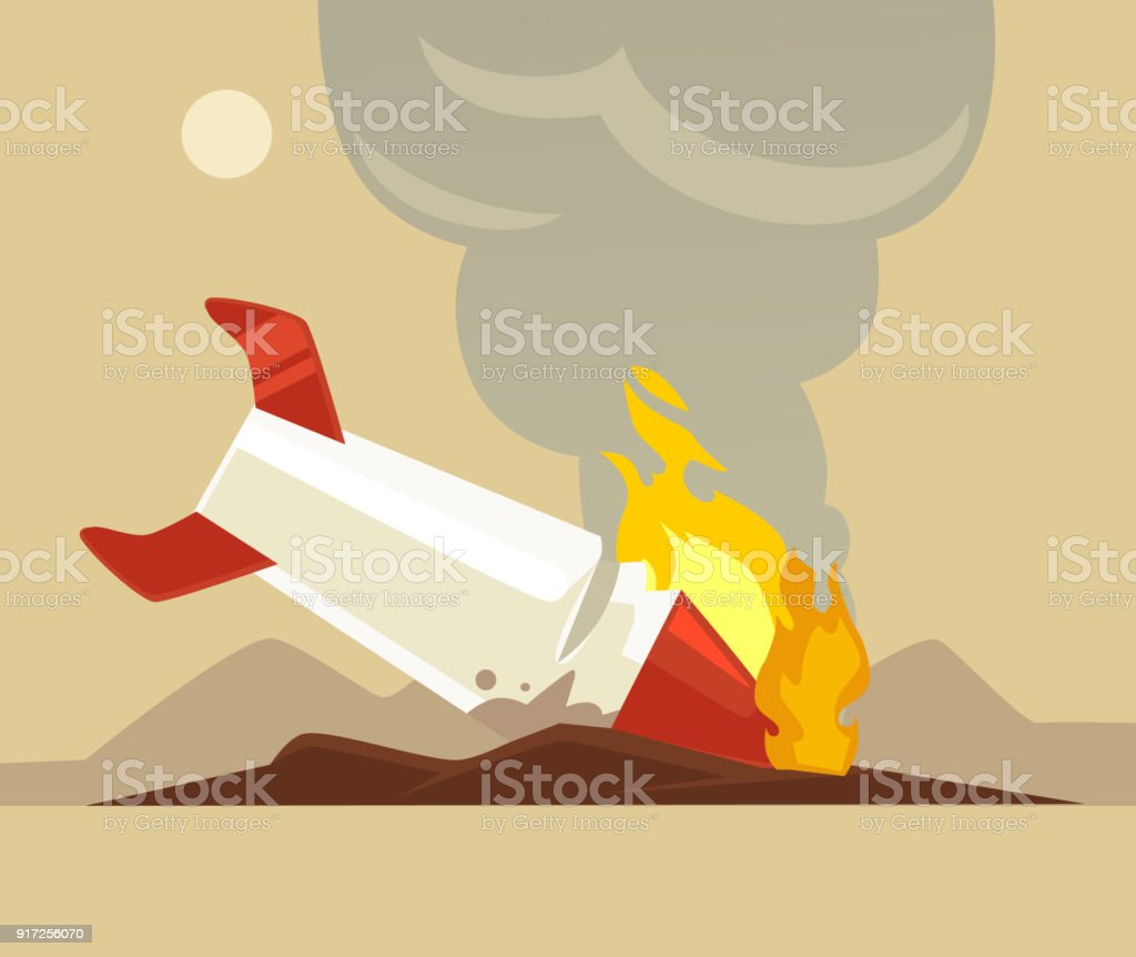 Broken rocket vector art illustration