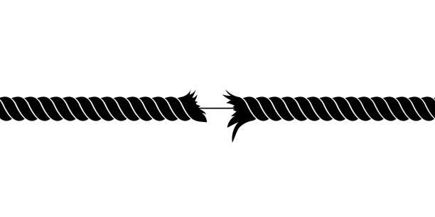 ilustrações, clipart, desenhos animados e ícones de ilustração quebrada do projeto do vetor da corda isolada no fundo branco - texturas desgastadas