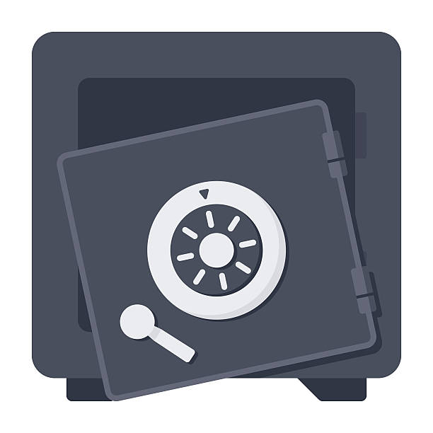 Broken Safe Icon A safe with its door broken open, vector icon in flat style safety deposit box stock illustrations