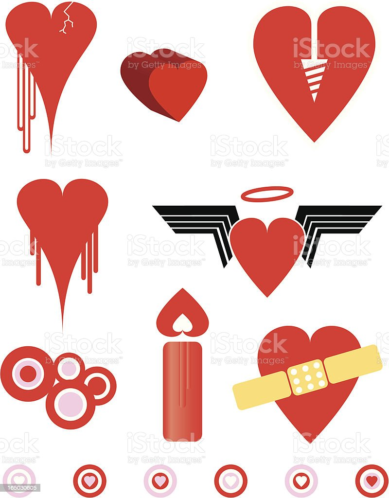 Broken, screwed and abandoned hearts royalty-free stock vector art