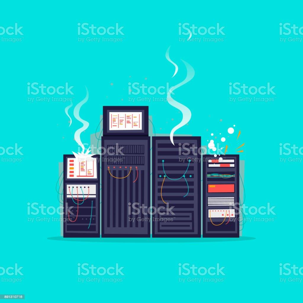Defekte Server. Flaches Design-Vektor-Illustration. – Vektorgrafik