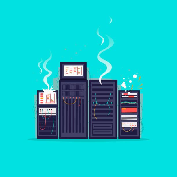 stockillustraties, clipart, cartoons en iconen met gebroken server. platte ontwerp vectorillustratie. - netwerkserver