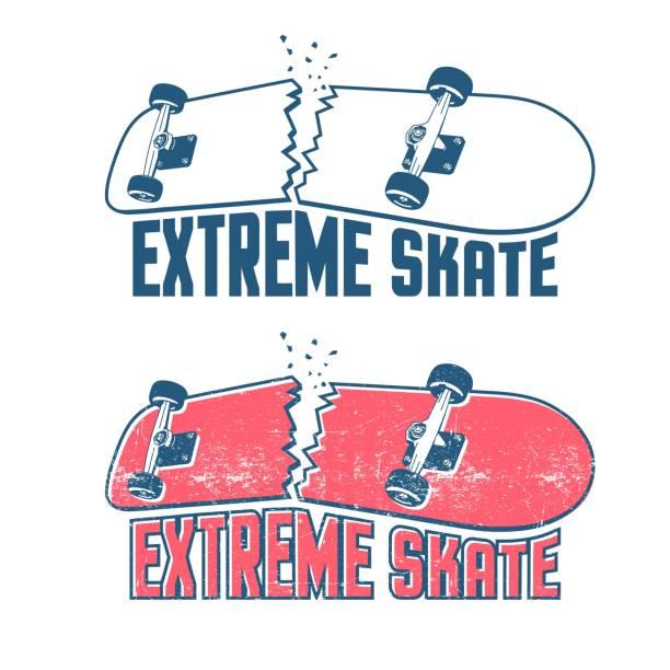 Bекторная иллюстрация Broken skateboard emblem in vintage print style