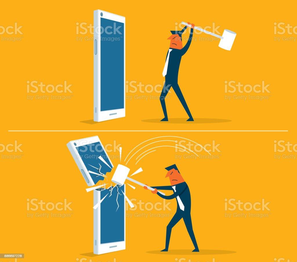 broken Smart phone - businessman vector art illustration