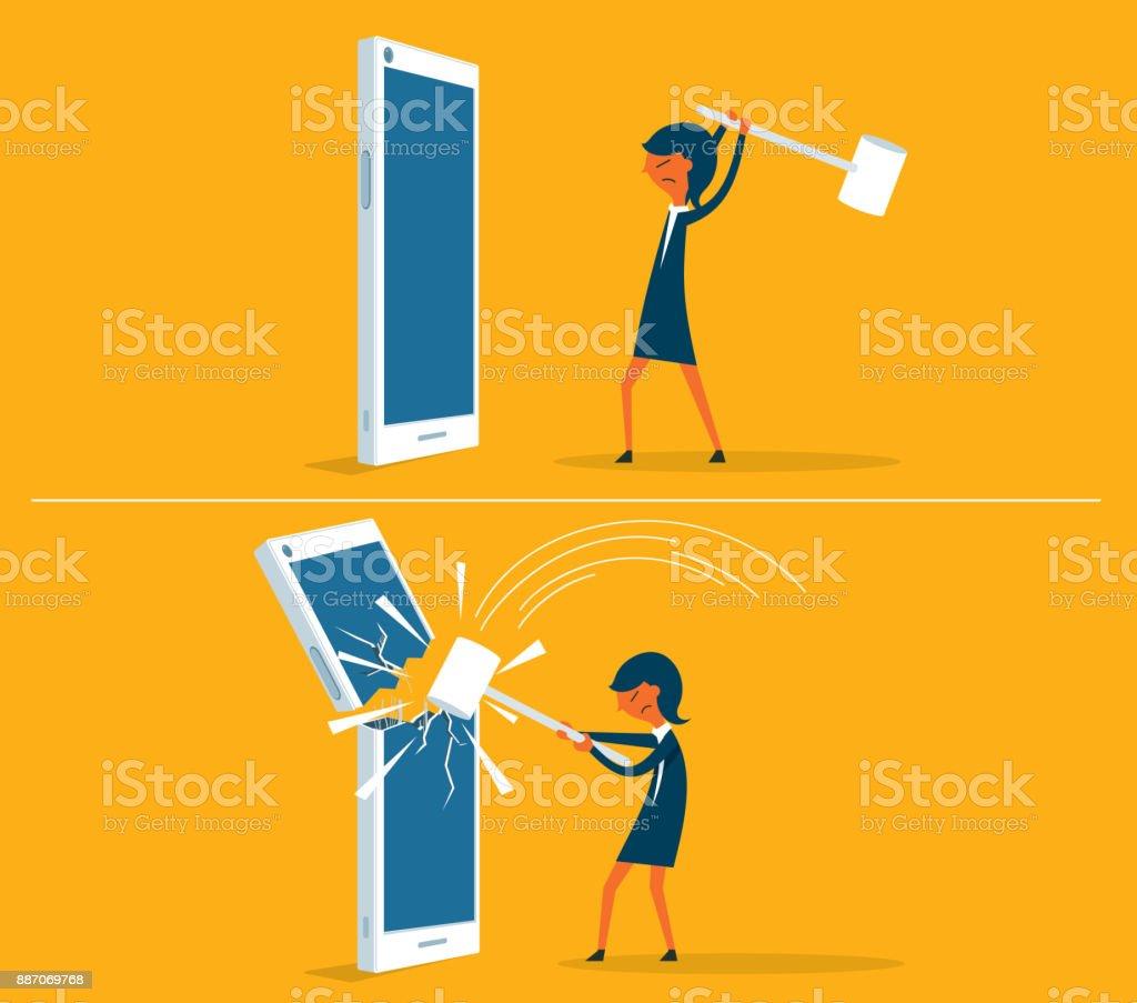 broken Smart phone - businesswoman vector art illustration
