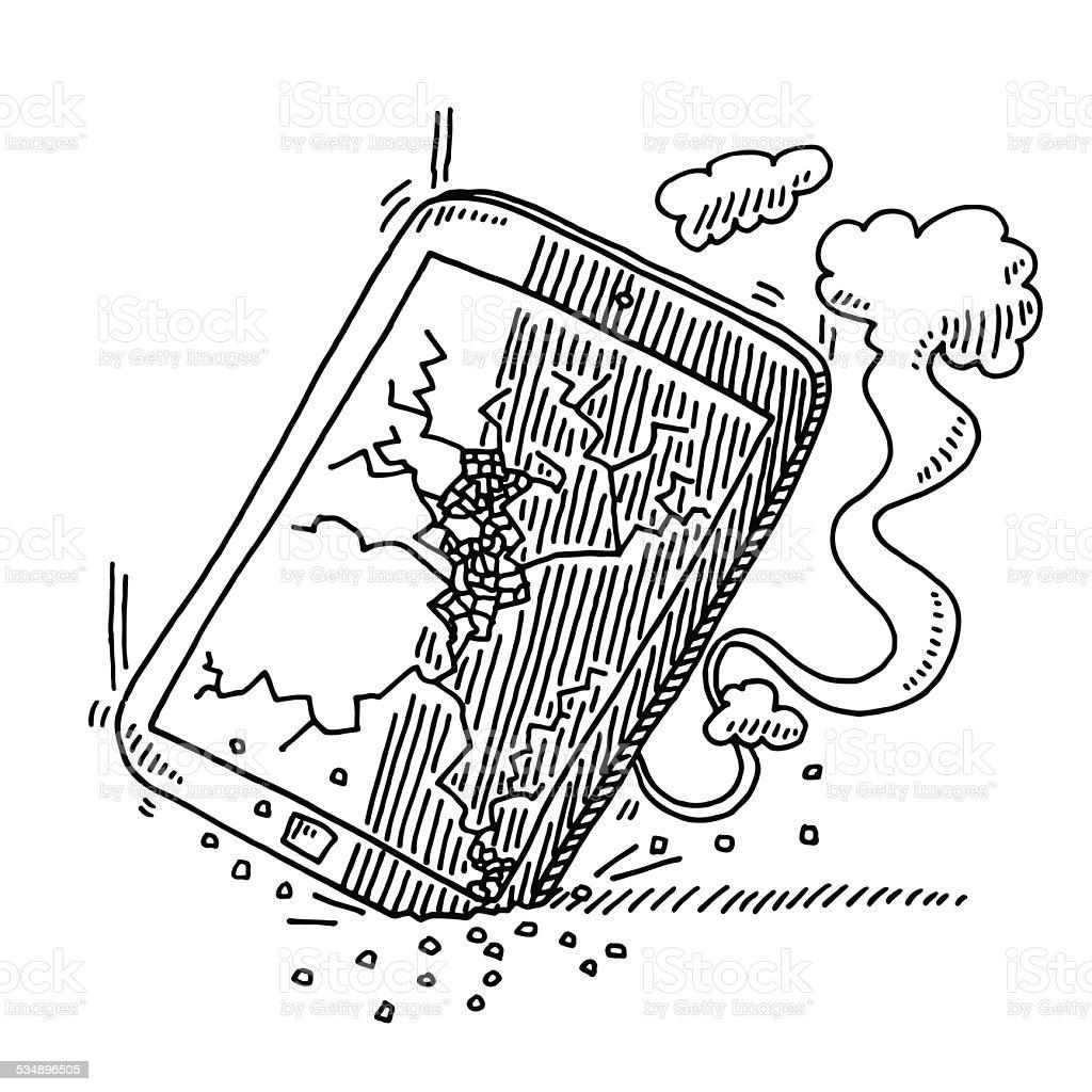 Broken Smart Phone Fallen Down Drawing vector art illustration