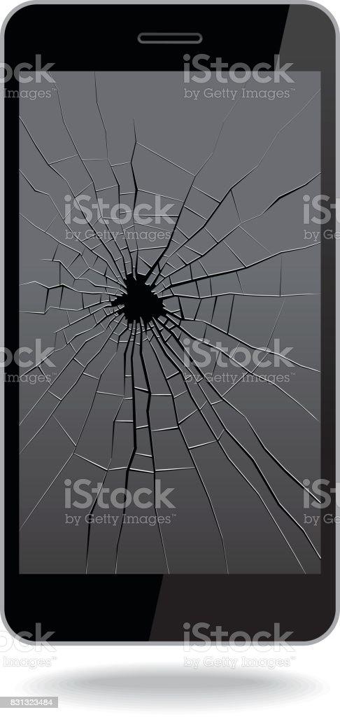 Broken Smart Phone vector art illustration