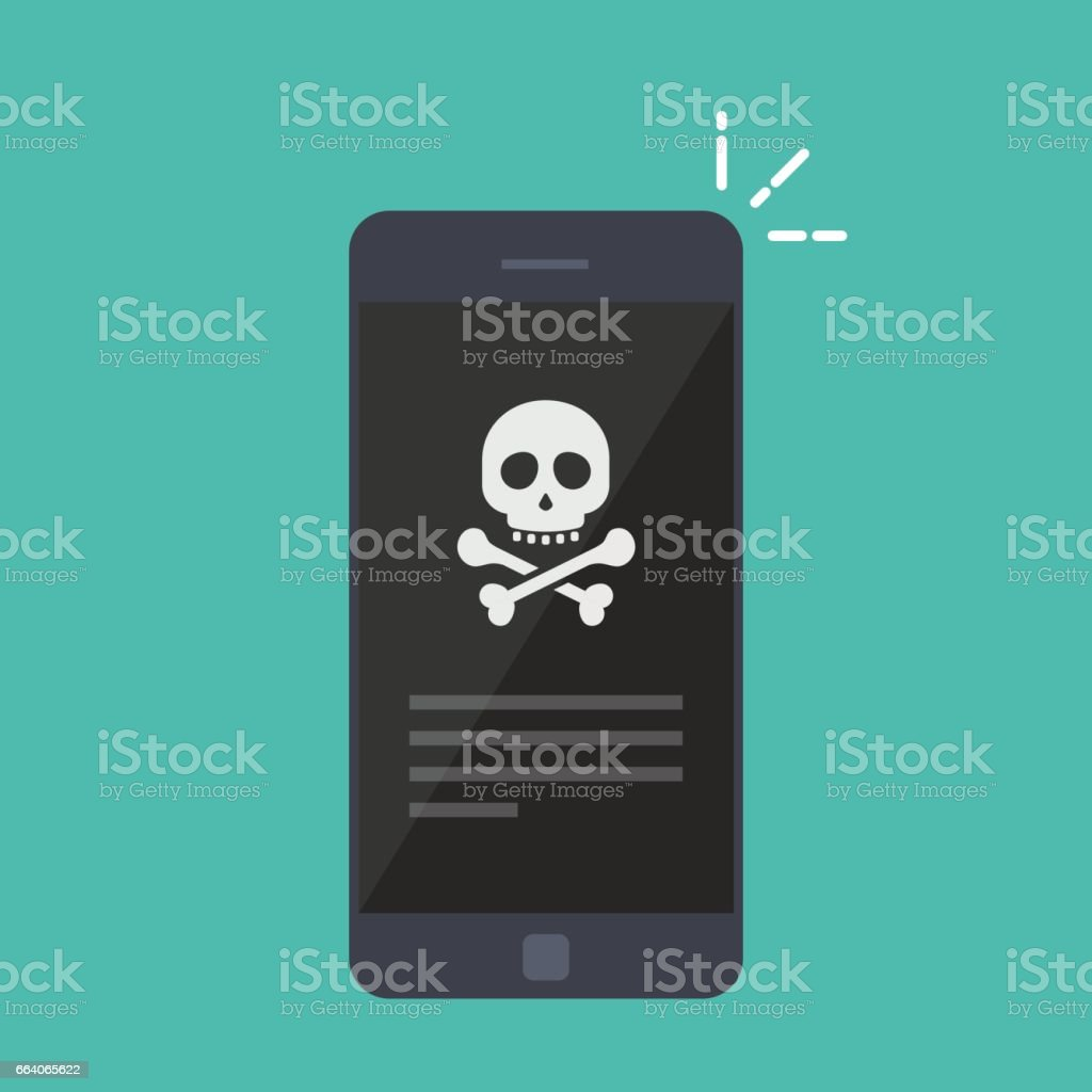 Broken smartphone. Malware notification on smartphone. Reporting a virus, malicious application, spam or hacking a mobile phone. Internet connection error, security risk. Flat vector illustration. vector art illustration