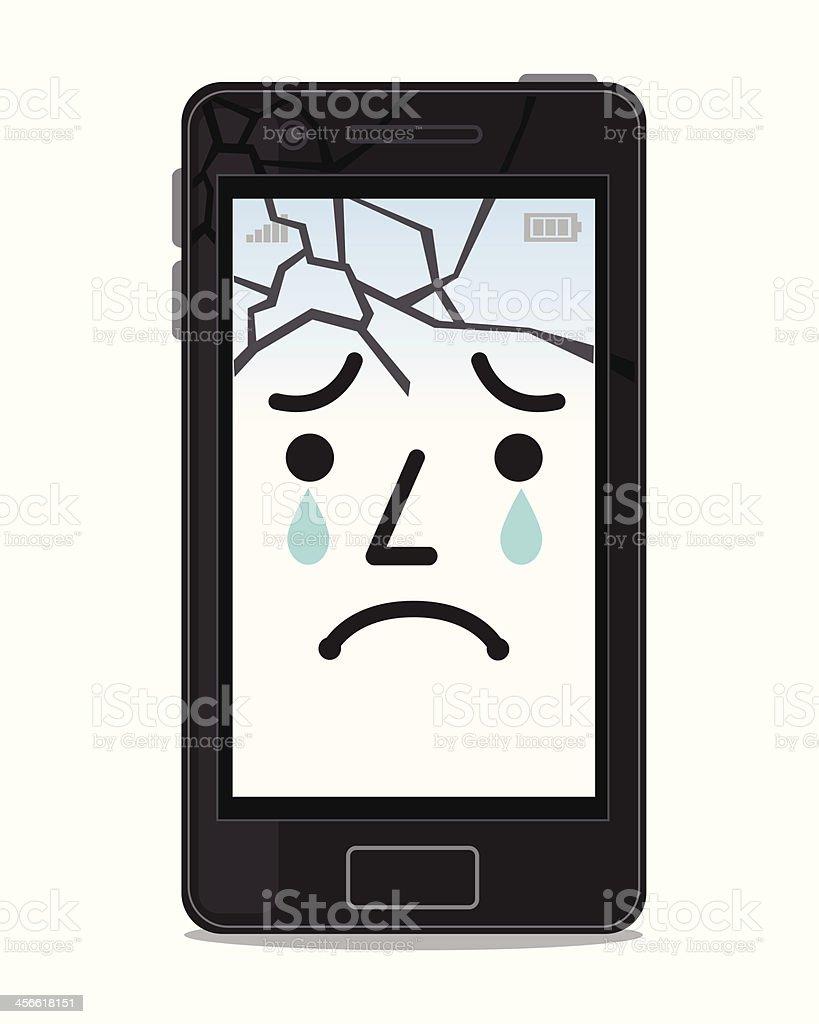 Broken smartphone screens vector art illustration
