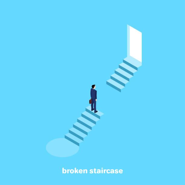 broken staircase vector art illustration