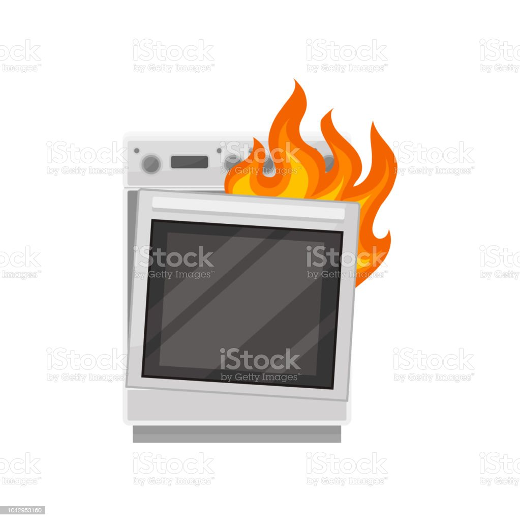 Broken stove with burning fire, damaged home appliance vector Illustration on a white background - Royalty-free Calor arte vetorial