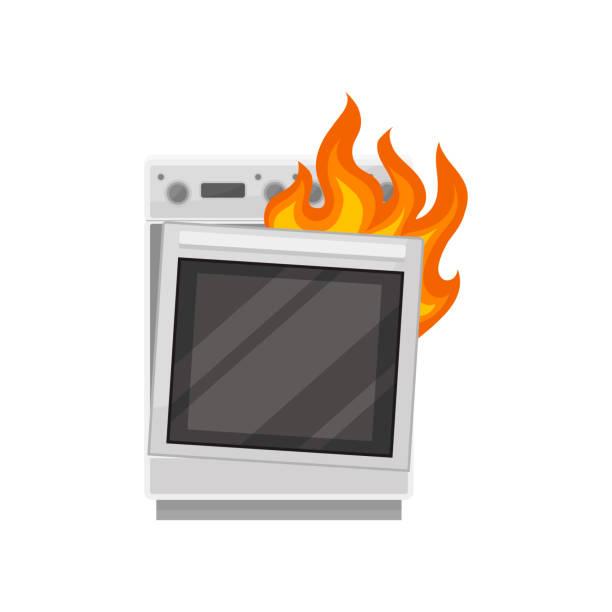 ilustrações de stock, clip art, desenhos animados e ícones de broken stove with burning fire, damaged home appliance vector illustration on a white background - burned oven