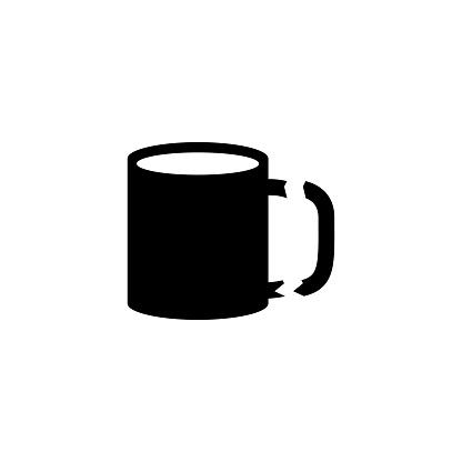 Broken Tea Cup, Destroy Porcelain Mug Flat Vector Icon