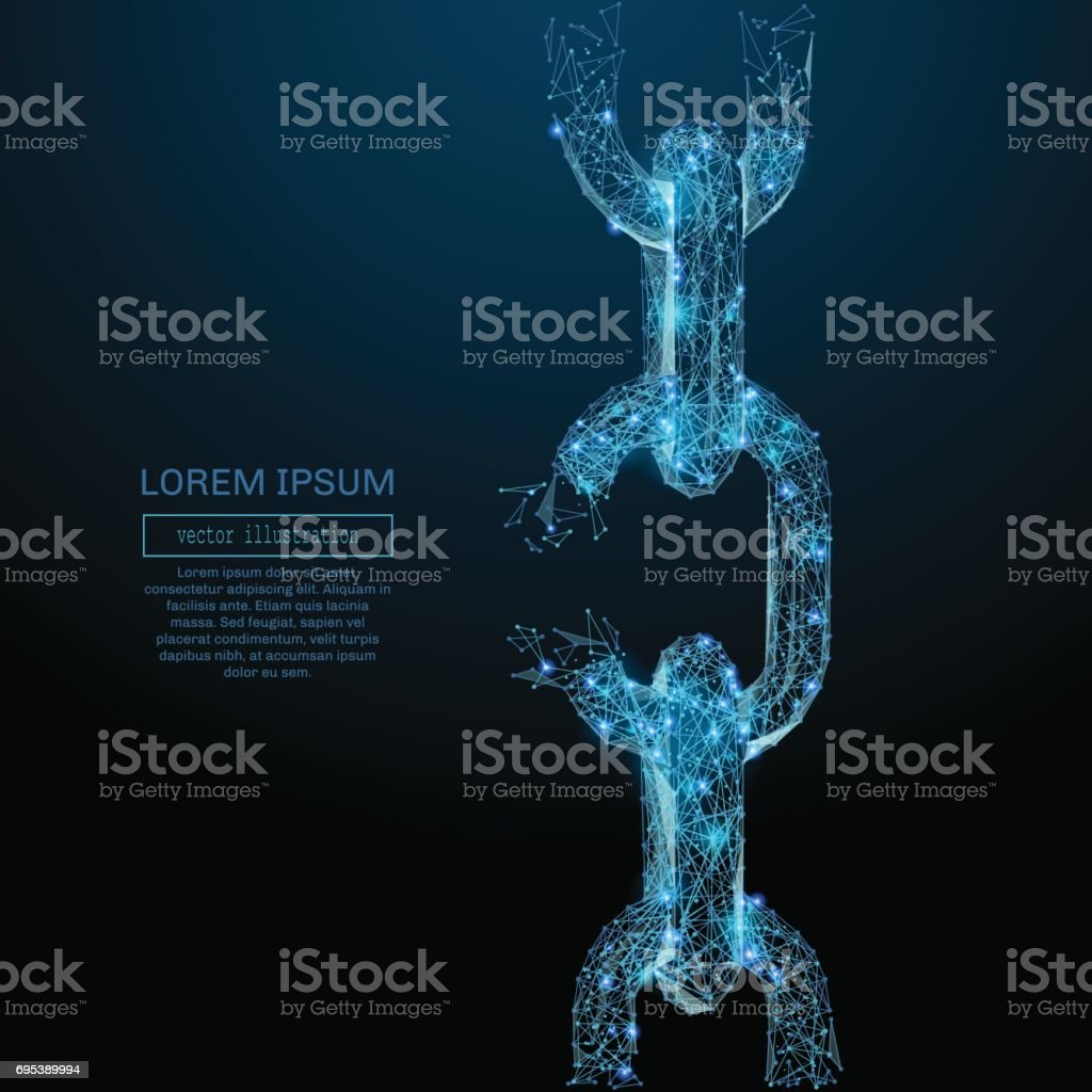 Broken tearing chain low poly blue vector art illustration