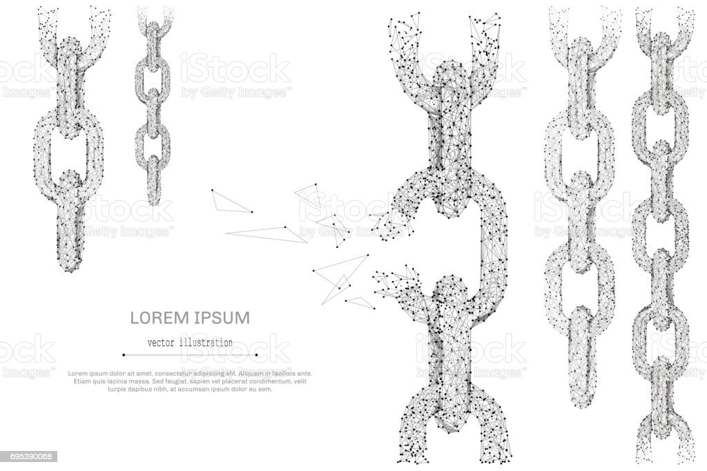 Broken tearing chain low poly gray royalty-free broken tearing chain low poly gray stock illustration - download image now