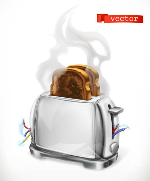 ilustrações de stock, clip art, desenhos animados e ícones de broken toaster. error. 3d vector icon - fail cooking