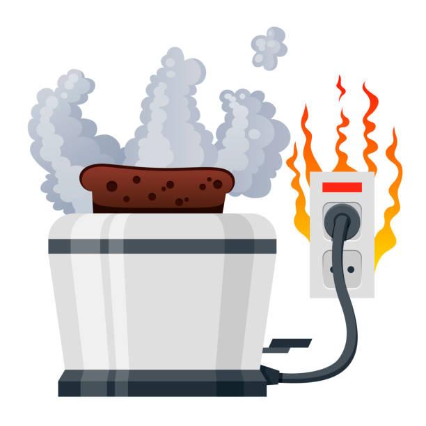 ilustrações de stock, clip art, desenhos animados e ícones de broken toaster smoking. electric small appliance for roasting of sliced bread burned out. - fail cooking