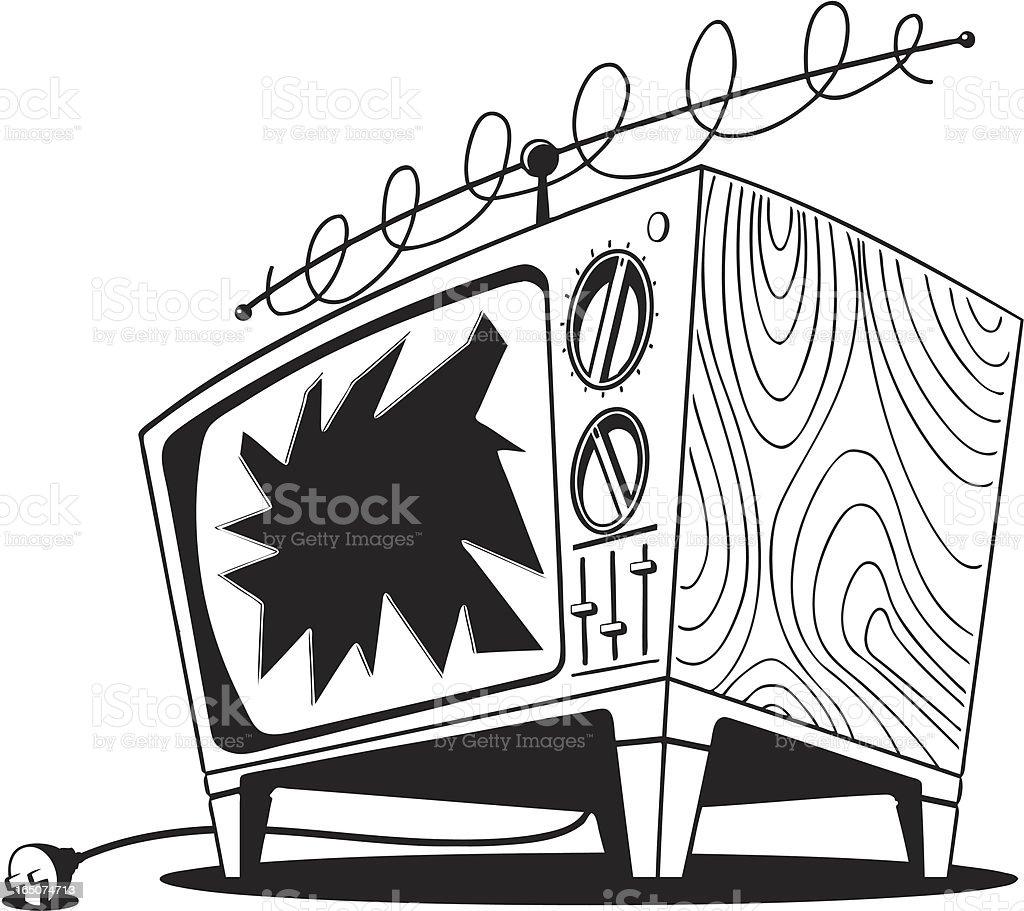 Broken TV royalty-free stock vector art
