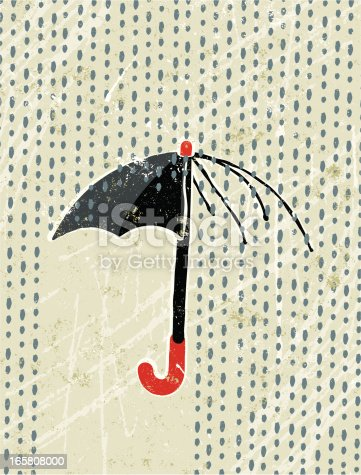 A breach in the defenses!! A stylized vector cartoon of a broken umbrella in the rain, reminiscent of an old screen print poster and suggesting protection, insecurity,dividing line,being unprepared or insurance. Umbrella, Rain, paper texture, and background are on different layers for easy editing. Please note: clipping paths have been used, an eps version is included without the path.