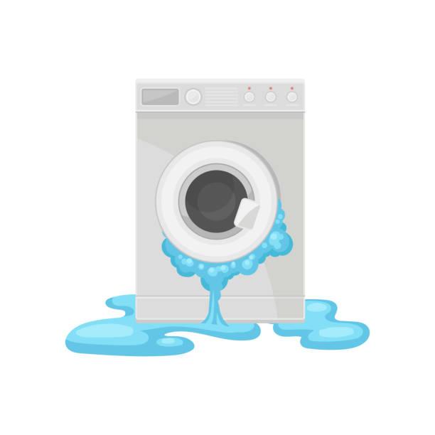 kaputte waschmaschine beschädigt haushaltsgerät vektor illustration auf weißem hintergrund - waschmaschine stock-grafiken, -clipart, -cartoons und -symbole
