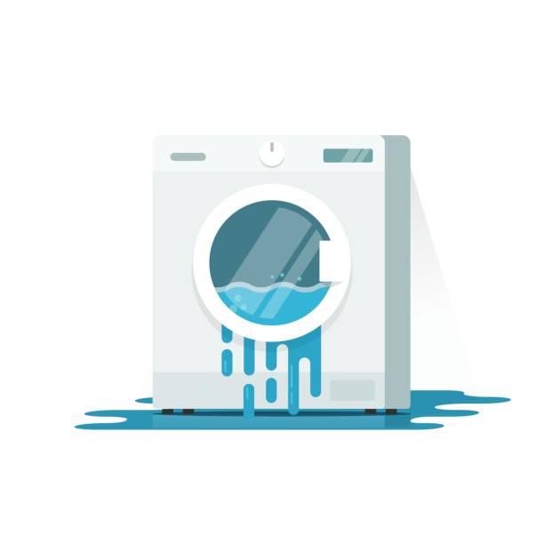 waschmaschine-vektor-illustration zerbrochen, flache cartoon beschädigt unterlegscheibe mit fließenden wasser am boden muss isolierte reparieren - waschmaschine stock-grafiken, -clipart, -cartoons und -symbole