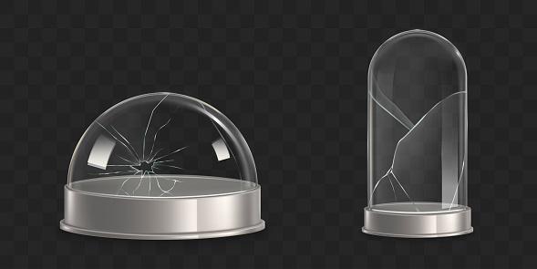Broken waterglobe, glass bell jar realistic vector
