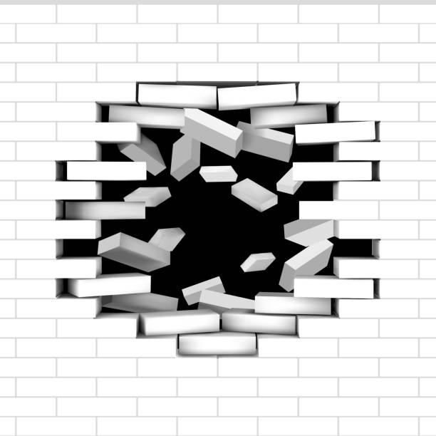 Broken white brick wall vector art illustration