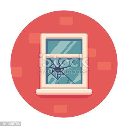 Window with broken glass on red brick wall. Simple cartoon vector illustration. Broken windows theory concept.