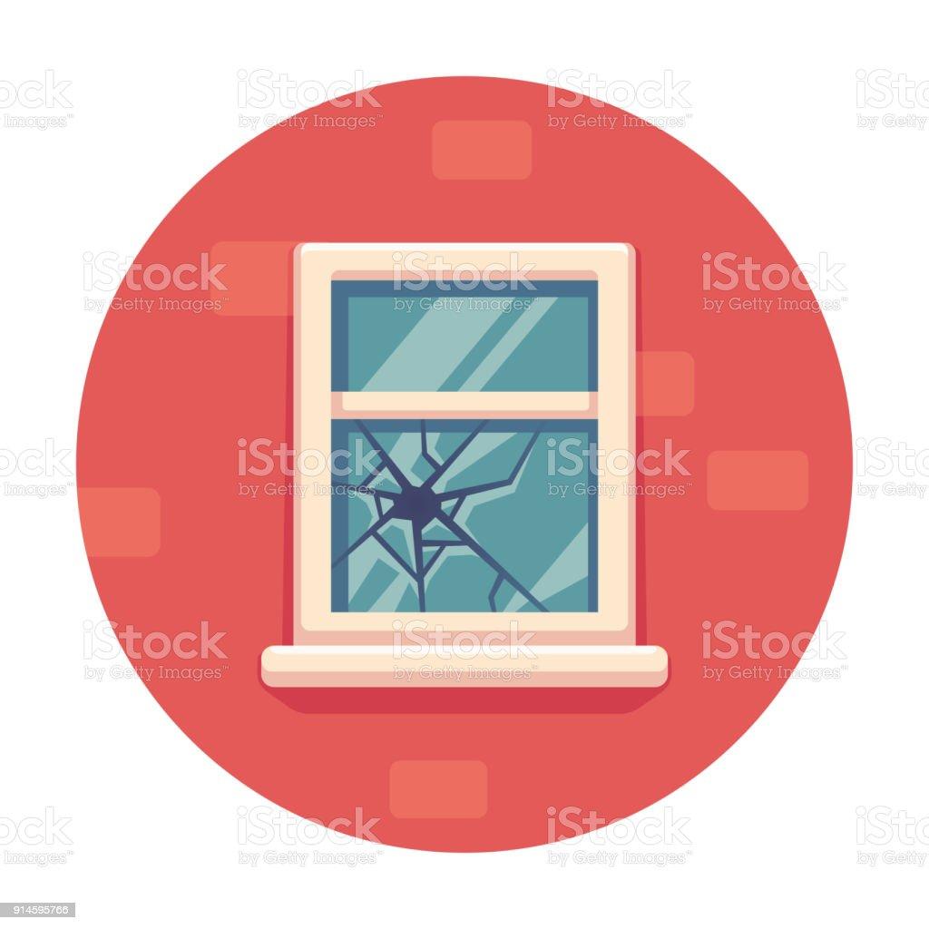 Zerbrochenes Fenster Abbildung – Vektorgrafik