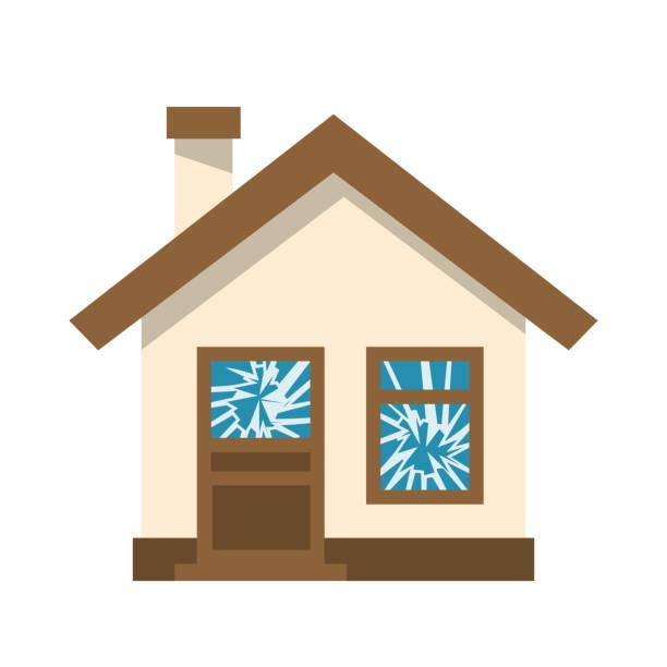 Broken window. Ruined house Broken window. Ruined house. Cracked glass. Vector illustration flat design. Isolated on white background. vandalism stock illustrations