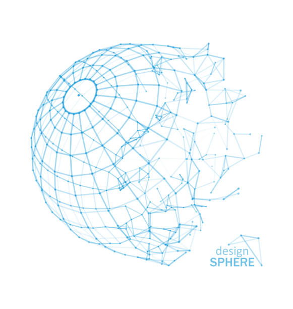 Broken Wireframe Sphere. Fractured Geometric Form. Lines Network Polygons of Circle vector art illustration