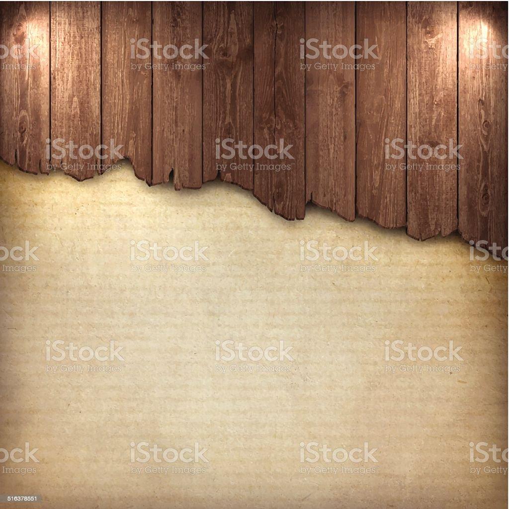 Broken Wood Board on Grungy Background vector art illustration