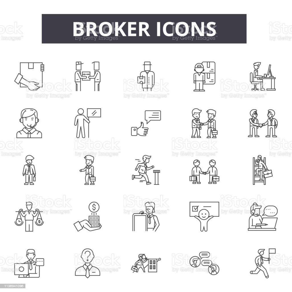 Broker line icons for web and mobile design. Editable stroke signs. Broker  outline concept illustrations
