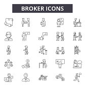 Broker line icons for web and mobile design. Editable stroke signs. Broker  outline concept illustrations