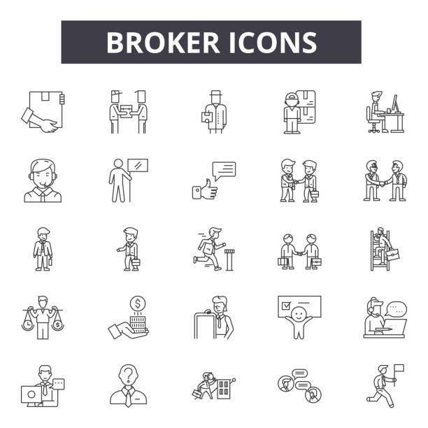 broker-line-icons für web-und mobile-design. bearbeitbare schlaganfall-schilder. umriss-konzept-illustrationen - broker stock-grafiken, -clipart, -cartoons und -symbole