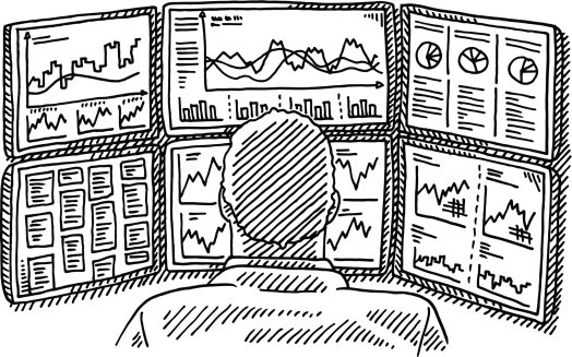 Broker Work Place Displays Charts Drawing